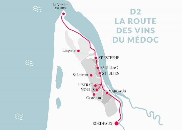 Itinéraire de la route des vins du Médoc en Gironde, France