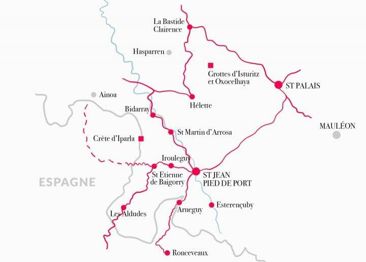 Carte de la Basse-Navarre au Pays Basque en France