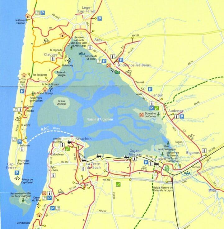 Carte itinéraire à vélo sur le Bassin d'Arcachon