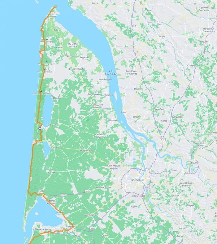 Carte itinéraire à vélo de la vélodyssée en Gironde de la pointe de grave au bassin d'Arcachon