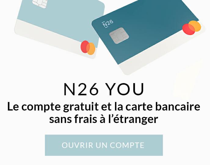 N26 compte bancaire gratuit et sans frais en voyage